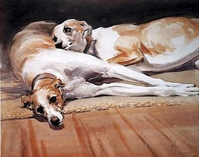 """WHIPPET HOUND DOG FINE ART LIMITED EDITION PRINT - by Malcolm Coward - """"Resting"""""""