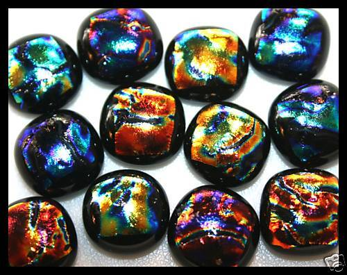 Lot of 12 JEWEL Tone ASSORT RIPPLE Fused Glass DICHROIC Cabochons NO HOLE Beads