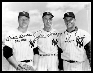 Mickey Mantle Joe Dimaggio Roger Maris Autographed Photo 11X14 - 1962 Yankees