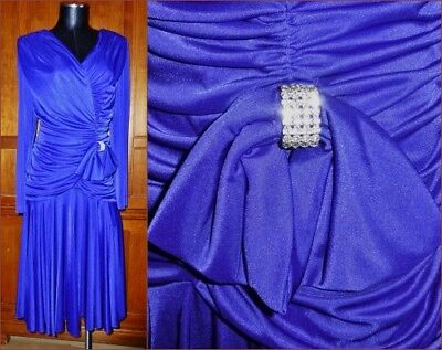 80s Dresses | Casual to Party Dresses Vtg 80s Royal Blue Silky Liquid Jersey Rhinestones Evening Cocktail Party DRESS $83.30 AT vintagedancer.com