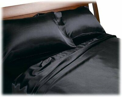 BLACK - SATIN SHEETS QUEEN Size Soft Silk Feel Bedding 4pc Set Luxury Bed Linen ()