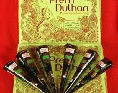 6 Natural Prem Dulhan DARK BROWN Henna Cones Temporary Tattoo Body Art  Ink