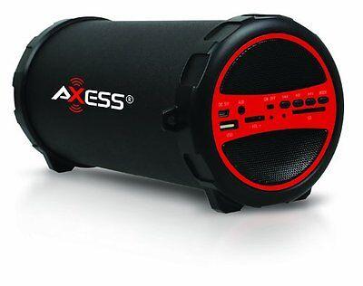 Axess SPBT1031-RD Portable Bluetooth Indoor/Outdoor 2.1 Hi-Fi Cylinder Loud #73