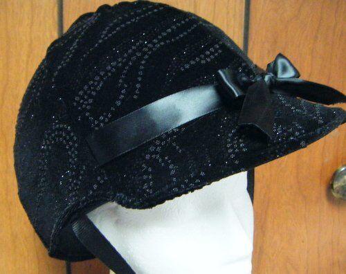 Hunt Helmet Cover Velvet Fabric with Beads and Glitter