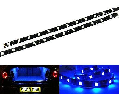 2x Blue 12 LED Light Strip Car Interior Daytime DRL 30cm Motorcycle Decoration