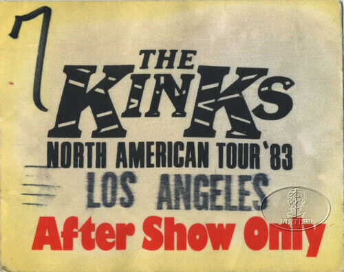 The KINKS 1983 North American Tour Backstage Pass Los Angeles
