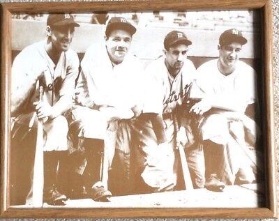 (Babe Ruth Lou Gehrig Hank Greenberg Gehringer 11X14 Framed Sepia Toned Poster )