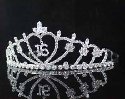 FASHION WEDDING SWEET SIXTEEN 16 TIARA CROWN RHINESTONE WITH COMBS PARTY PAGEANT](Sweet Sixteen Party)
