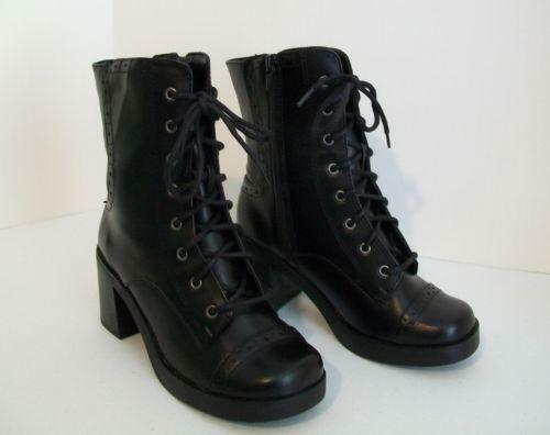 232efaba964 vtg 90s minimalist goth lolita platform Oxford chunky heel shoes 8