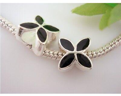 20pcs Black Silver Tone Four-Leaf Big Hole Beads Fit Charm Bracelet E02c