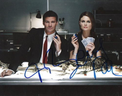 DAVID BOREANAZ & EMILY DESCHANEL.. Bones Duo - SIGNED
