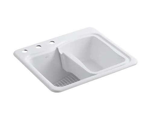 The Kohler K 6657 3 Laundry Sink Has A 14 Inch Deep Basin And An Integrated  Washboard. It Is Made Of Sturdy Kohler Cast Iron And Is Coated With An ...