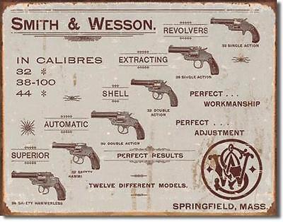 Smith & Wesson Revolver Sammlung USA Retro Metall Plakat Schild