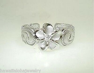8mm Silver Hawaiian Rhodium Brushed Satin Plumeria CZ Heritage Toe Ring #1