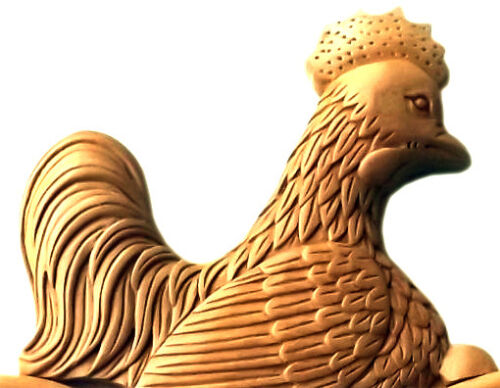 Majestic Wooden Pediment Cock Rooster Finial Crest Unfinished