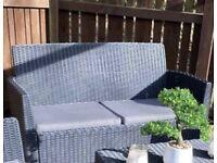 Rattan garden sofa bench