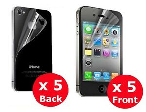 5 x  FRONT BACK FULL BODY  SCREEN PROTECTOR IPHONE 4S IPHONE 4G IPHONE 4