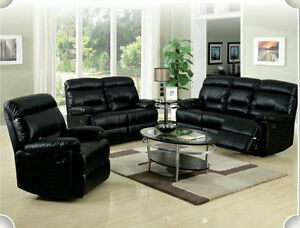 Salon inclinable 3mcx cuir noir