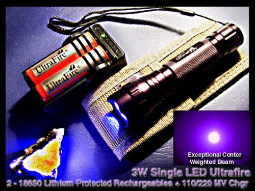 3W ULTRAVIOLET Dark Field LED Medical / Mineral Light w/2 Rechg Lithium+chgr+cs