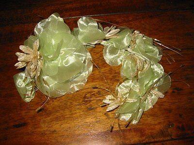 Tocado Corona de Flores Boda ~ Hecho a Mano ~ Verde Oro...