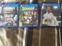 Call of duty WWII Crash Bandicoot Fifa 18 games £25 pick up only