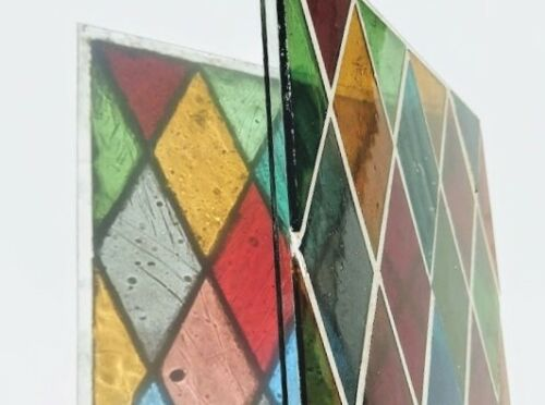 Stained Glass Panel, Mid 20th Century, Mouth Blown, unframed - Diamonds
