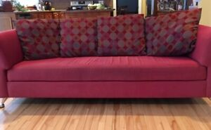 Modern cranberry red designer couch