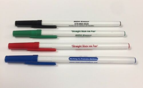 Custom Personalized Stick Pens - 50 (DAVRO) White with Matching Trim & Imprint