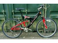 Raleigh Max hybrid aluminium frame dual suspension bike