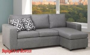 FABRIC SOFA WITH FLOATING CHAISE IN A BEAUTIFUL GREY LINEN