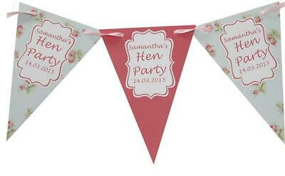 Personalised Hen Party Bunting Shabby Chic Banner night weekend do Bridal Shower ()