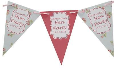 Personalised Hen Party Bunting Shabby Chic Banner night do Bridal Shower PHOTO ()