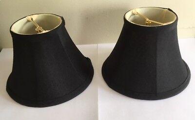 (2 Black Silk Shantung Clip-On Chandelier Bell Lamp Shades Cream Silk Lining 6