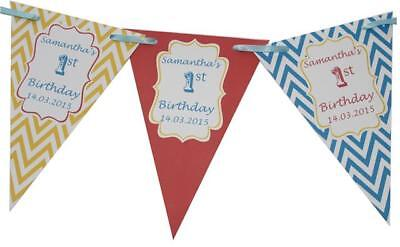 Personalised Chevron Circus Theme age Birthday Bunting Party 1st 2nd 3rd 4th 5th