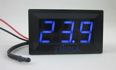 0.56 Led 12v Blue Digit Thermometer Temp Probe -50110c Temperature Detector