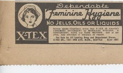 """1936 X-TEX Ad Dependable Feminine """"Foremost Detergent For Marriage Hygiene"""""""