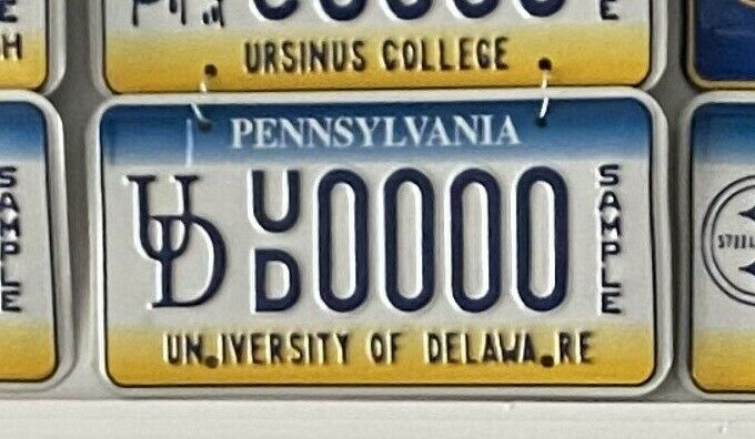Pennsylvania Sample License Plate Tag - University of Delaware