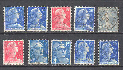 France Used Set of 10 Stamps
