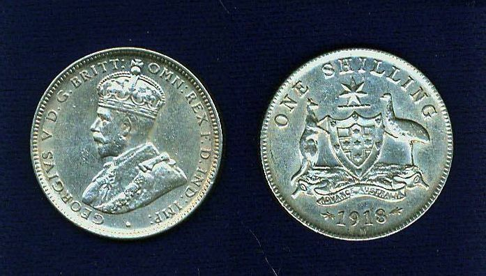 AUSTRALIA GEORGE V 1918-M 1 SHILLING SILVER COIN  ALMOST UNCIRCULATED+