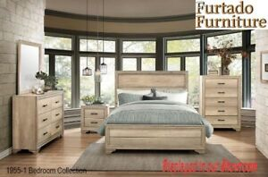 AMAZING LIGHT ELM STAIN BEDROOM SET IN QUEEN SIZE OR KING SIZE