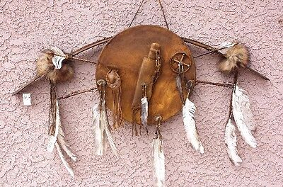 Native American Antiqued Bow, Arrows, Shield with Knife & Sheath