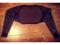 Plum Short Bolero With Sequinned Detail - Size 14