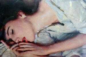 SUPERB-ORIGINAL-WILLIAM-OXER-ON-CANVAS-She-Loves-Another-female-girl-PAINTING