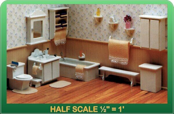 Master Bathroom Dollhouse Furniture Kit - 1/24 Scale by Greenleaf Dollhouses