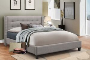 UPHOLSTERED STUDDED WING BED WITH EARS IN GREY OR BEIGE LINEN
