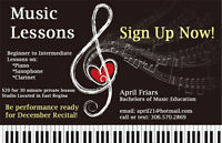 Music Lessons (Piano, Saxophone, Clarinet)