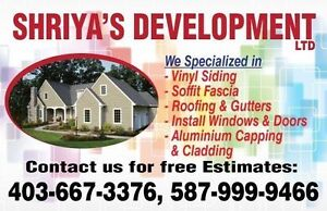 Siding soffit fascia gutters Eavestrough Downspouts roofing
