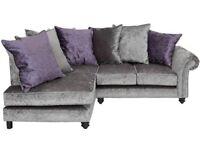 Brand New Silver/Purple Crushed Velvet Corner Sofa