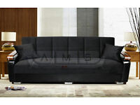 3 Seater Fabric Storage Sofa Bed Settee with Wooden Leather Arm rests - Brand New