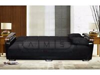 **FREE DELIVERY** 3 SEATER ITALIAN FABRIC STORAGE SOFA BED WITH LEATHER ARMS